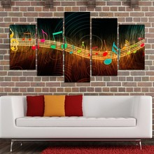 HD Printed Modern Wall Art Home Painting 5 Panel Music Notation Modular Decoration Posters Picture On Canvas Frame Living Room