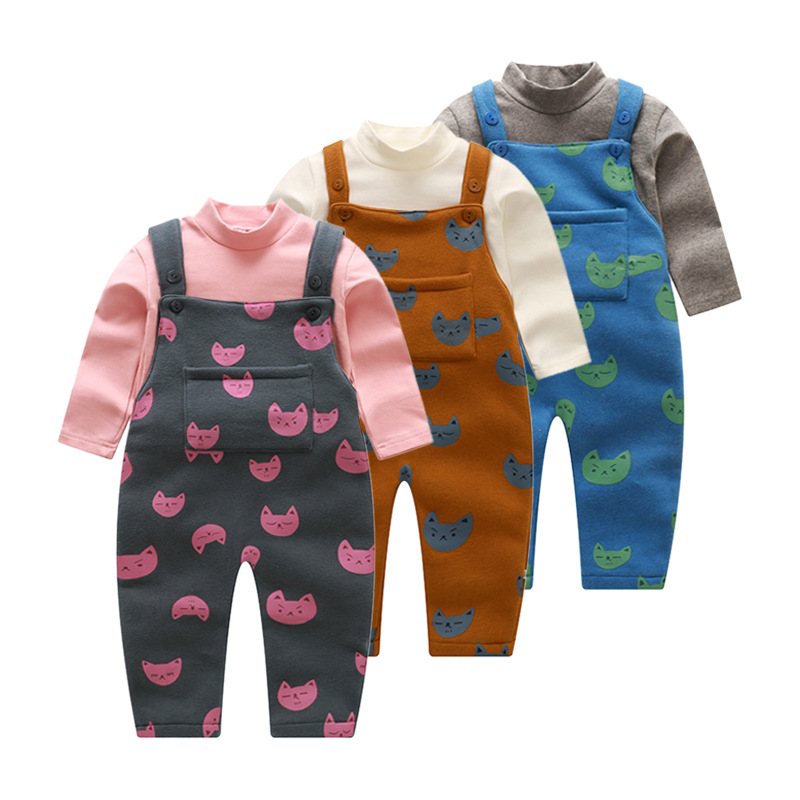 Newborn Baby Pure Cotton Children Set 2017 New Style Baby Boys Girls Strap Two Suit Color Printing During Spring And Autumn 0cm in diameter large space baby hand footed printing mud set newborn baby hand and foot print hundred days old gift souvenir