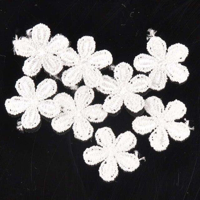 50 unids/lote 23mm algodón flor Encaje apliques recortar para la ...