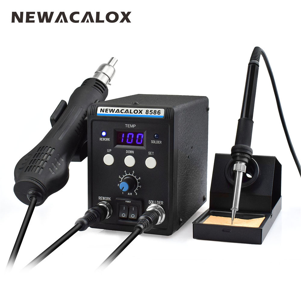 цена на NEWACALOX 8586 220V 700W Lead-Free Soldering Station BGA Rework SMD Hot Air Gun Heat Eletric Soldering Iron Kit Tool Welding Tip