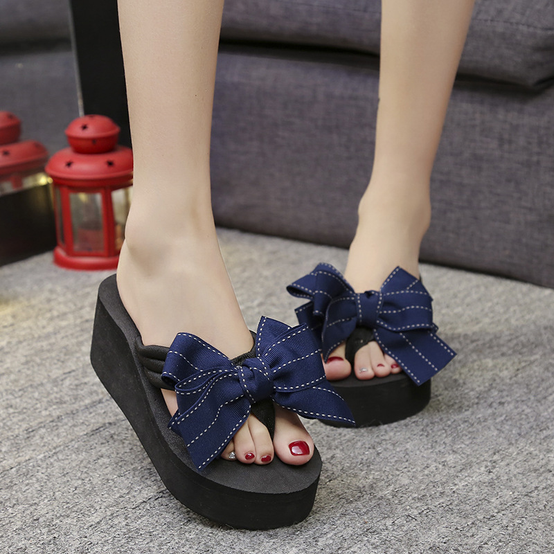 2019 Sommer Koreanische Version Der Bogen Flip-flops Frauen Schuhe Non-slip Mit Hohen Absätzen Schuhe Mode Hausschuhe Flut