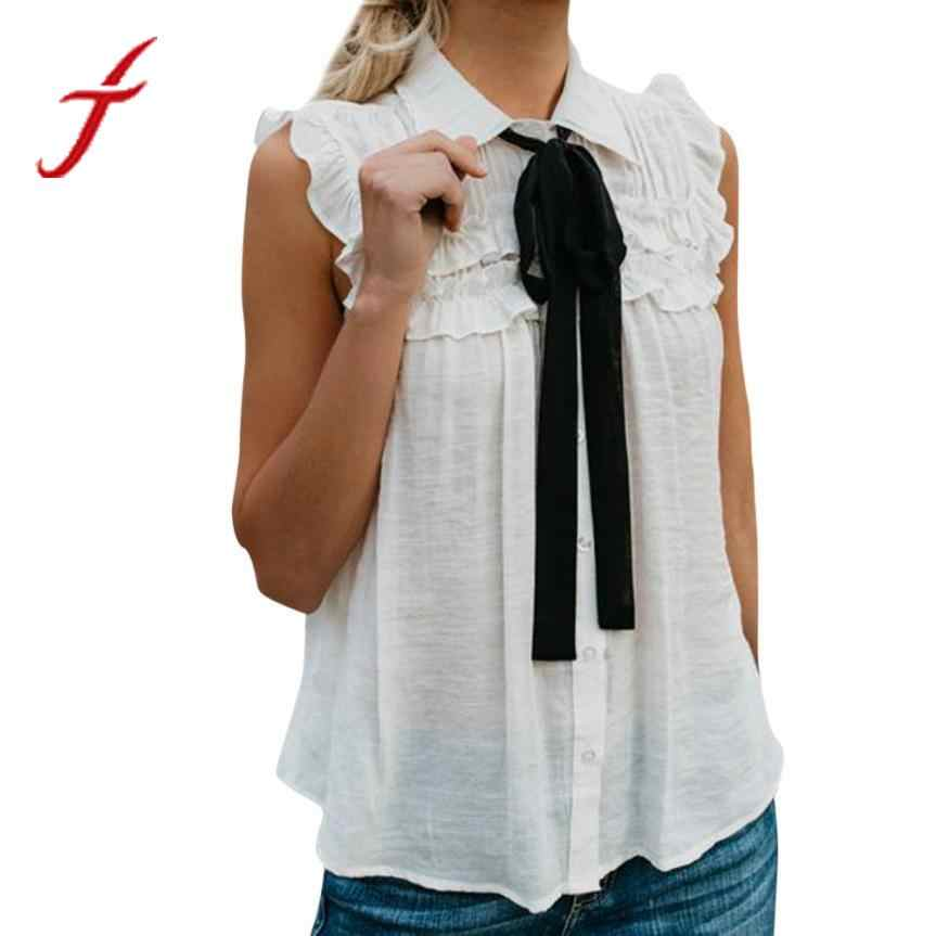 a10233dca81d8 FEITONG Fashion Blouse Women Solid Summer Tops Sleeveless With Tie Ruffled  Turn-Down Collar White
