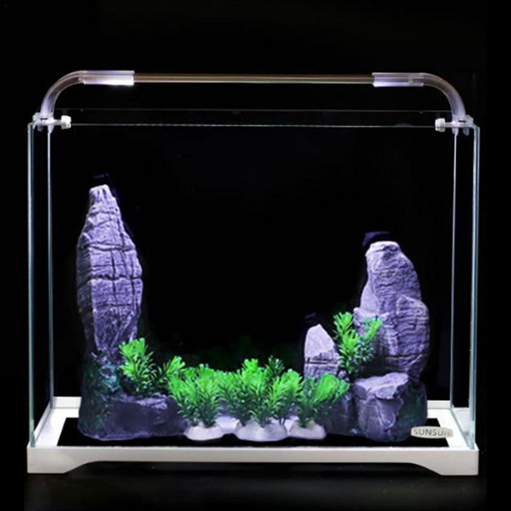 Aquarium Aquarium verre Ultra-blanc petit réservoir nu eau herbe cylindre salon eco-cylindre taille moyenne bureau Aquarium - 2