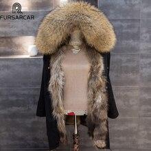 FURSARCAR NEW Winter Parkas Detachable Women Real Raccoon Fur Liling Jacket Long Big Raccoon Fur Collar Jacket Fur Parkar