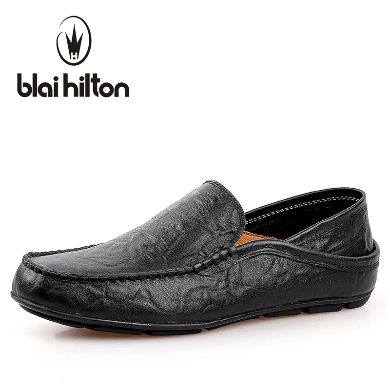 blaibilton 2018 Summer Loafers Men Casual Shoes Boat Moccasins Genuine Leather Flats Male Luxury Slip-On Driving Footwear Soft men s crocodile emboss leather penny loafers slip on boat shoes breathable driving shoes business casual velet loafers shoes men