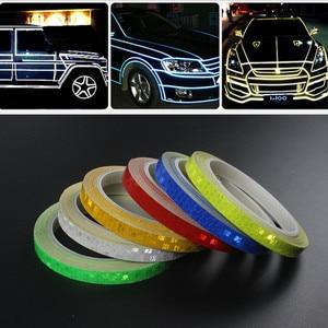 Image 2 - Cinta reflectante de 8 metros para el coche, llanta para el cuerpo de la motocicleta, cinta adhesiva decorativa, azul/rojo/amarillo, 1 unidad