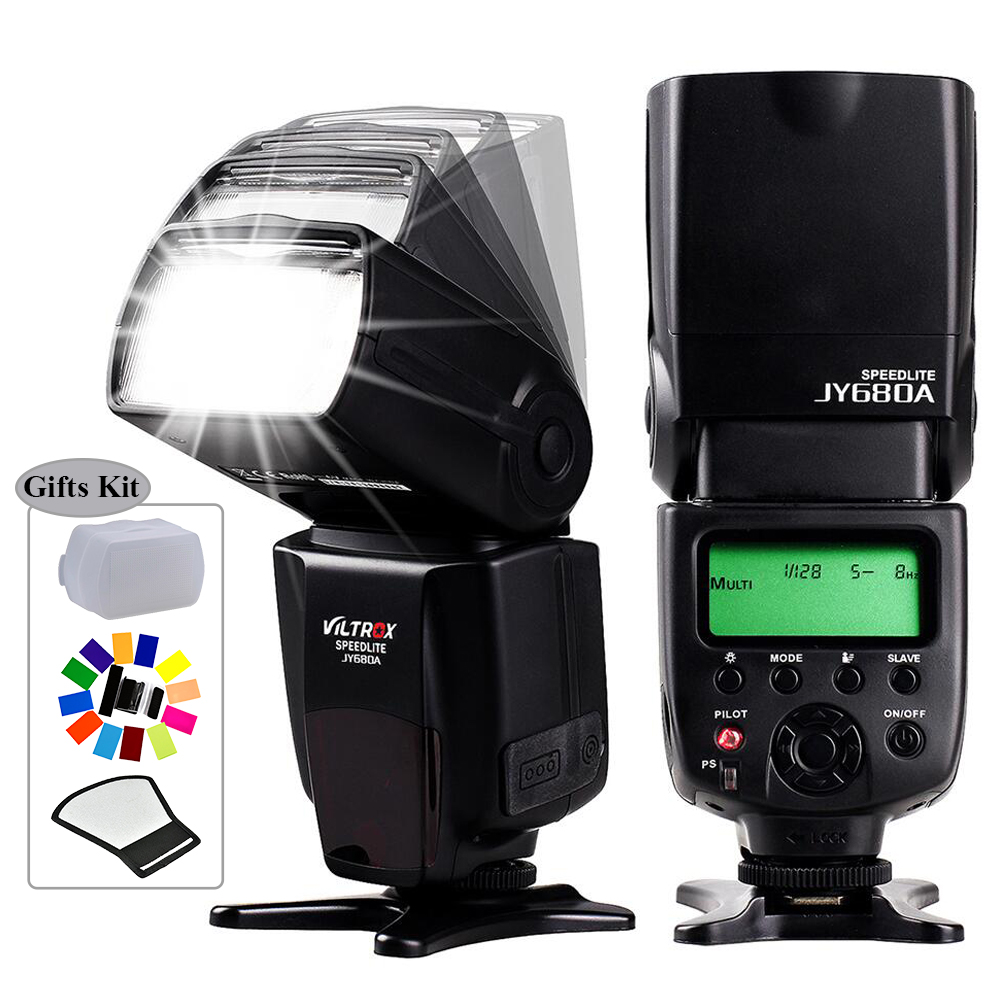 INSEESI Universele Camera JY-680A Speedlite Flash Light with LCD Screen for Canon 1300D 1200D 750D 80D 5D IV 7D Nikon 7200D 5D viltrox jy 680a universal camera lcd flash speedlite for canon 1300d 1200d 760d 750d 700d 600d 70d 60d 80d 5d ii 7d dslr