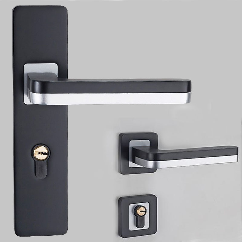 1set black silent mechanical door lock space aluminum door handle lever for Interior Living Room Bedroom Bathroom Door hardware