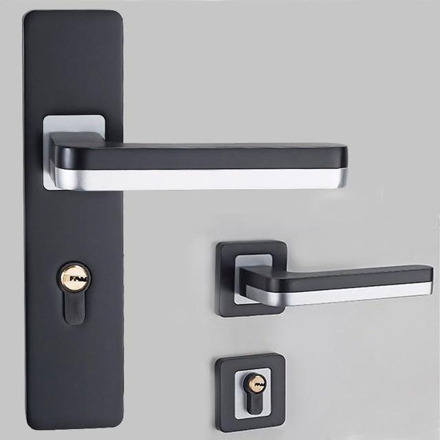 1set Black Silent Mechanical Door Lock Space Aluminum Door Handle Lever For  Interior Living Room Bedroom