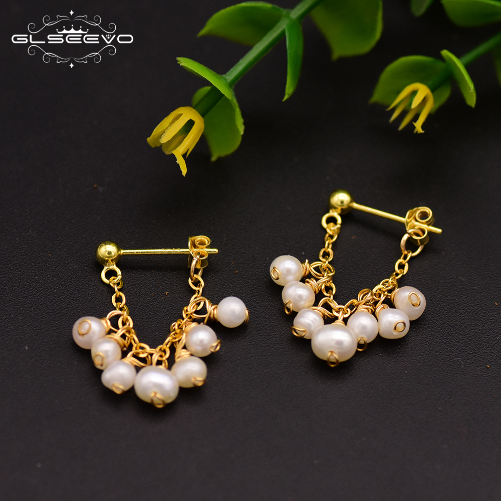 GLSEEVO 925 Sterling Silver Natural Freshwater Pearl Earrings For Women Party Fine Jewelry GE0674