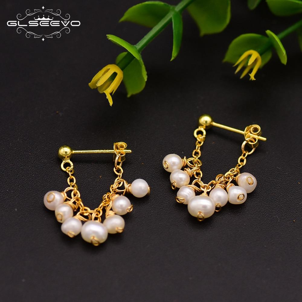 GLSEEVO 925 Sterling Silver Natural Freshwater Pearl Earrings For Women Party Earrings Fine Jewelry GE0674