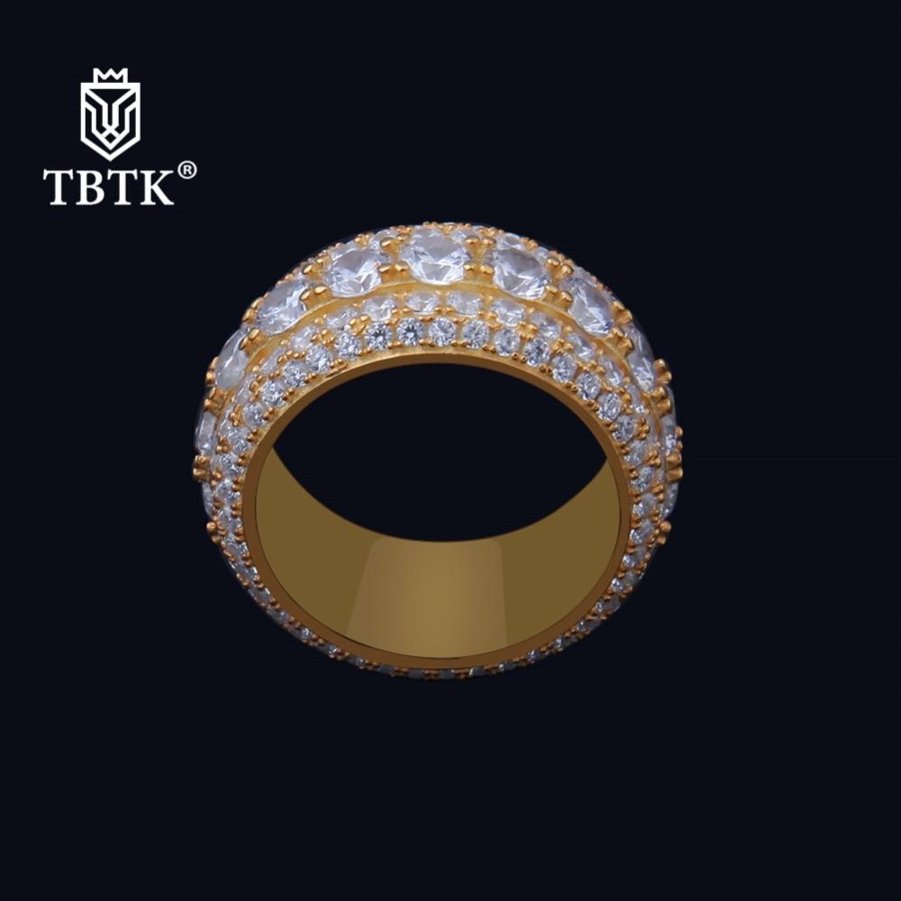 TBTK S925 pavé plein de Zircon argent bague en cristal Surface largeur 26mm grand homme anneau Western HipHop/Rap Costume bijoux anneau