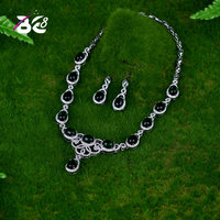 Be 8 Hot Sale AAA CZ Green Color Necklace Earrings Jewellery Sets for Brides Wedding Jewelry Sets Bijoux Femme Ensemble S059