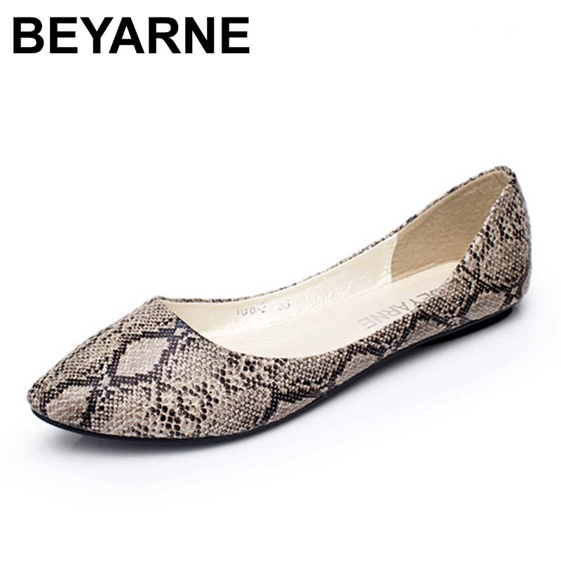 BEYARNE Classic street fashion women all-match comfortable shallow mouth pointed toe single shoes female flat plus size shoes