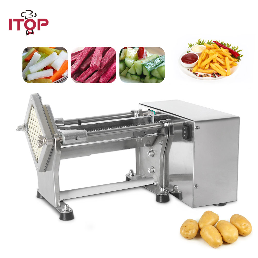 Itop New Electric French Fries Cutter Potato Chip Carrot Cutter Slicer Stainless Steel Vegetable Fruit Shredding Machine