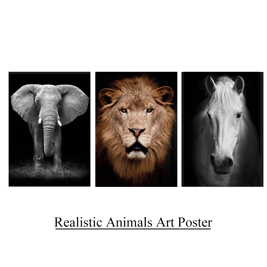 Animals Portrait Photo Realistic Painting Canvas Modern HD Pictures Vintage Posters&Prints Wall Art Living Room Home Decor Mural (1)