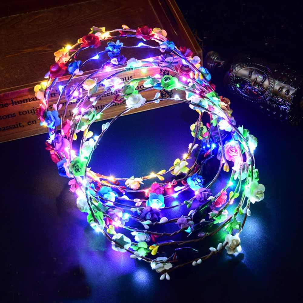 Novelty Led Flashing Flower Headband Hairband Glowing Light Floral Wreath Hair Ornament Children Girls Toys Christmas Party