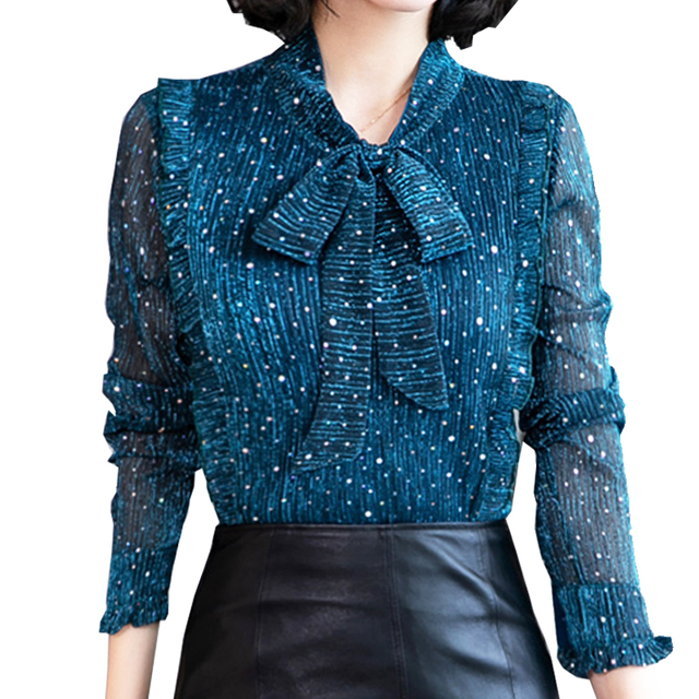 46bf89a8fcdf9b Women Tops and Blouses 2019 Spring Chiffon Paillette Lady Top Blusas  Feminina Bow Tie Long Sleeve Workwear Vintage Woman Shirts
