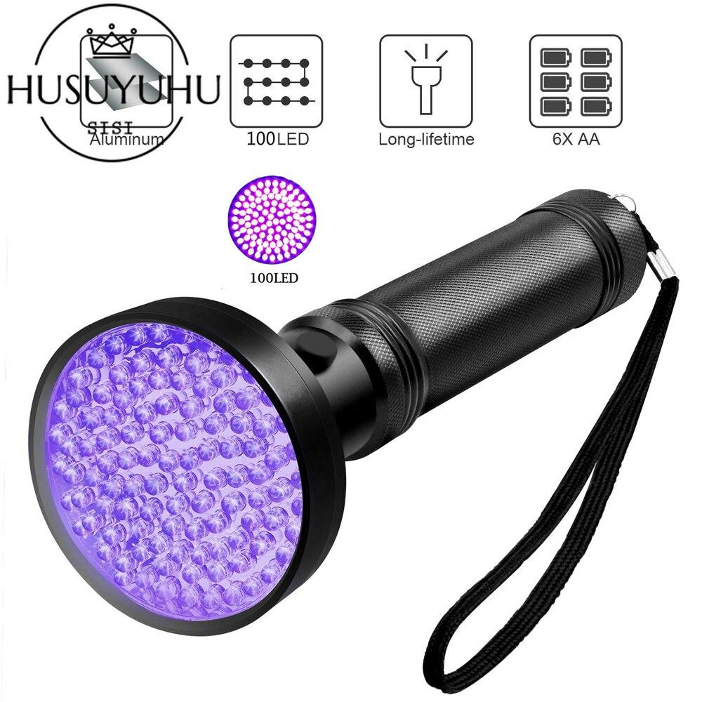 UV linterna Blacklight UV luces 100 LED 395nm ultravioleta negro luces Pet orina manchas Detector cama Bug Scorpion caza
