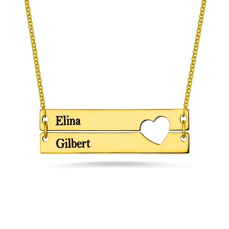 AILIN personnalisé gravé noms Bar collier pour dame argent deux Bar amour-coeur collier pour fête des mères cadeau en or