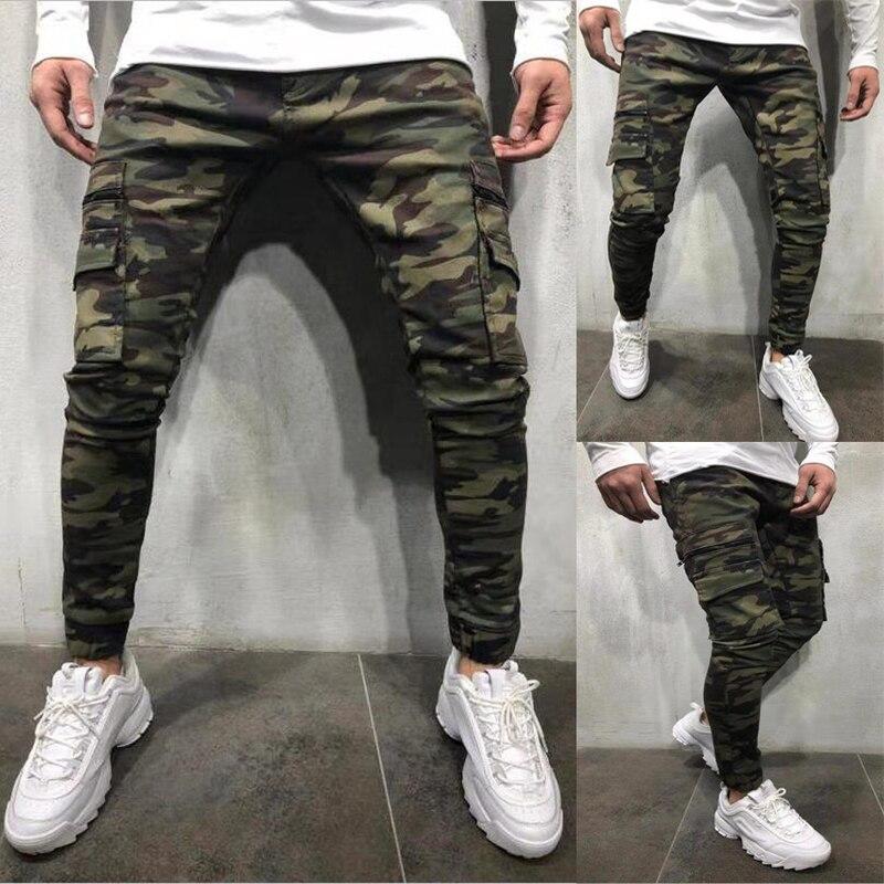 2019 Fashion Streetwear Men Skinny Jeans Jogger Pants Camouflage Military Pants Multi Pocket Denim Cargo Pants Hip Hop Trousers