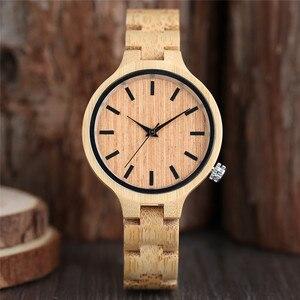 Image 3 - ساعات خشب الخيزران الطبيعي السيدات المألوف كوارتز ساعة اليد ساعة خشبية الإناث ساعة Relogio Feminino zegarek damski
