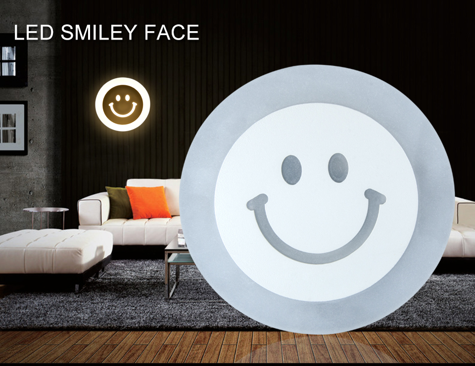 Creative LED Smile Face Wall Lamp Simple Kids Cartoon Bed Room Light Ultra-thin Acrylic Porch Aisle Lanterns Passage Luminaire (1)