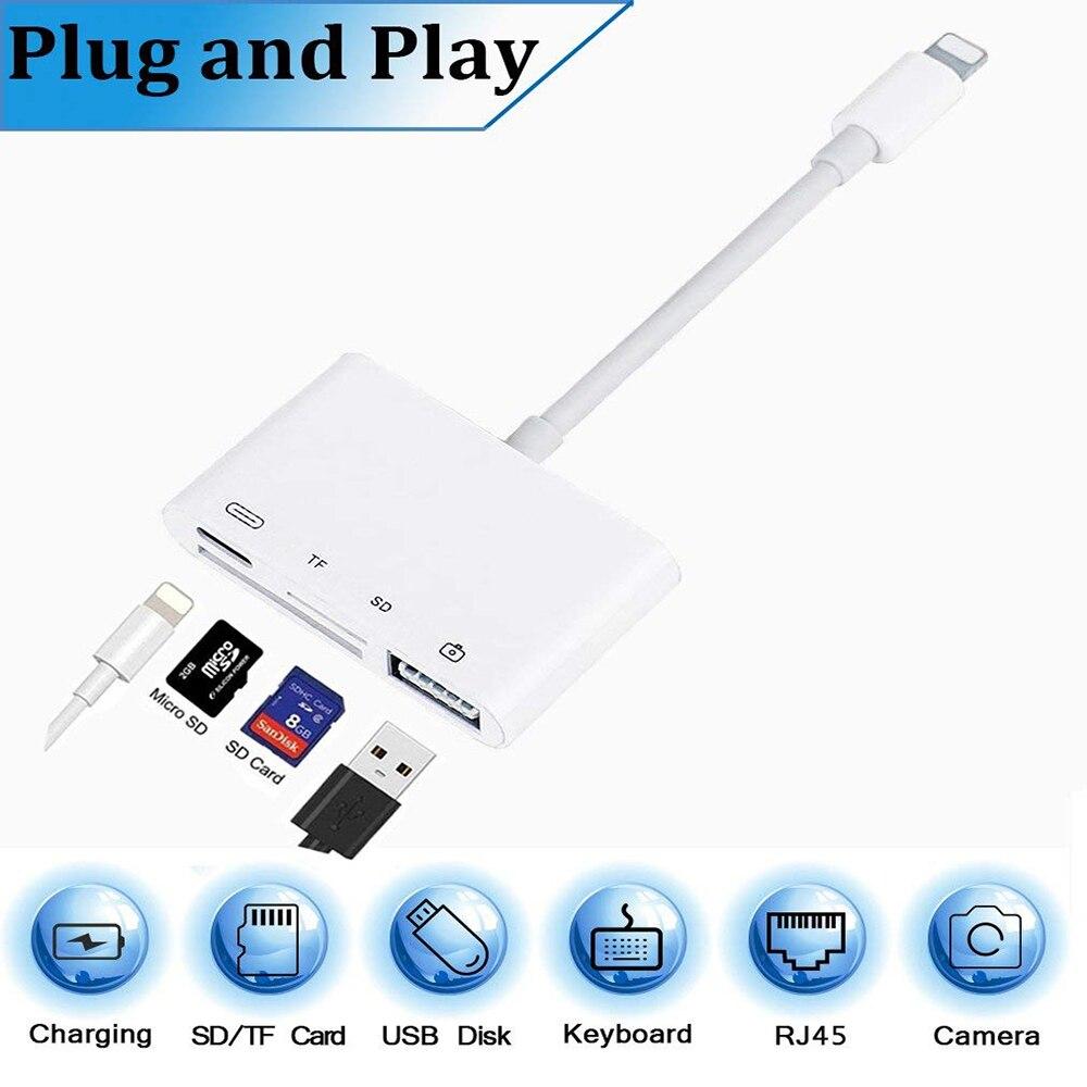 35882acfaca7f 4 En 1 SD TF Tarjeta de cámara Kits de conexión para Lightning a USB lector