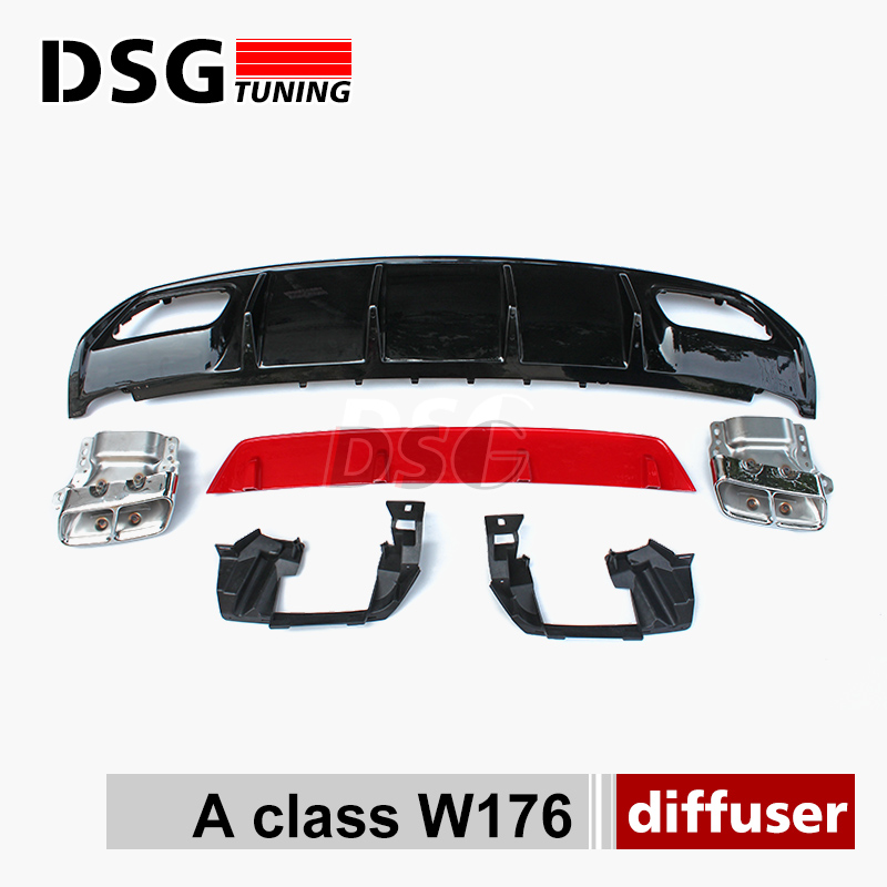 Mercedes W176 A45 Look ABS Diffuser 4 Outlet Exhaust tips Stainless Steel For Mercedes A Class