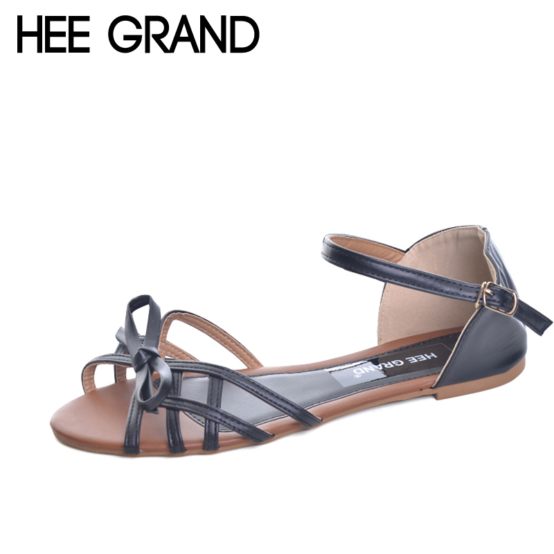 HEE GRAND Gladiator Sandals Bowtie Summer Style Buckle Platform Sandals Casual Flats Shoes Woman 3 Colors size 36-41 XWZ1738 phyanic 2017 gladiator sandals gold silver shoes woman summer platform wedges glitters creepers casual women shoes phy3323