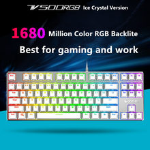 Rapoo V500S RGB Ice Crystal Version White Backlit Mechanical Gaming Keyboard Teclado for Game Computer Desktop