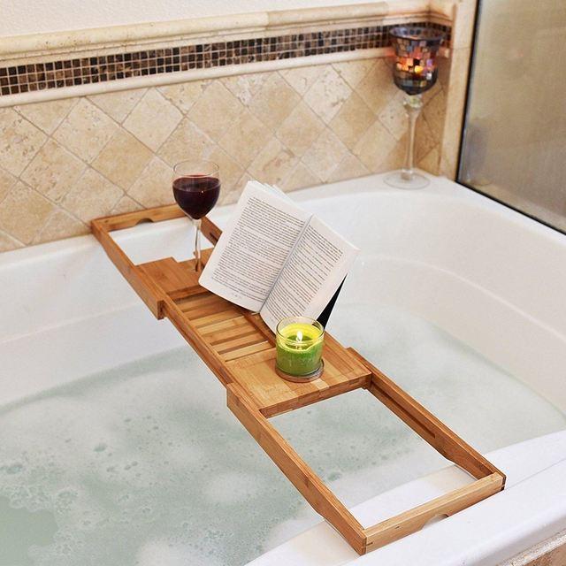 Adjustable Bathroom Shelves Bathroom Bath Tub Books phone Wine Cup ...