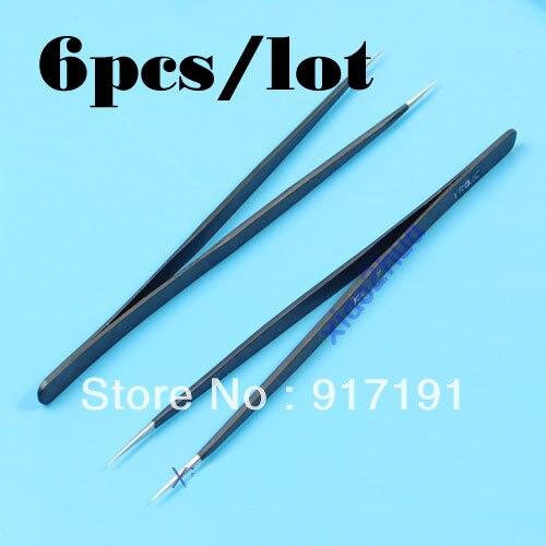U119 6 teile/los Gerade Tipps Pinzette Anti Magnetische Statische Zange