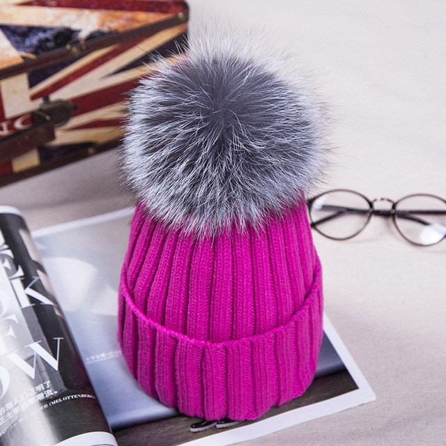 Knitted Cotton Hat European Autumn Winter Beanies with Fox Fur PomPom Hat For Women Knitted  Warm Ear Thick Hat  Solid  Cap H#17