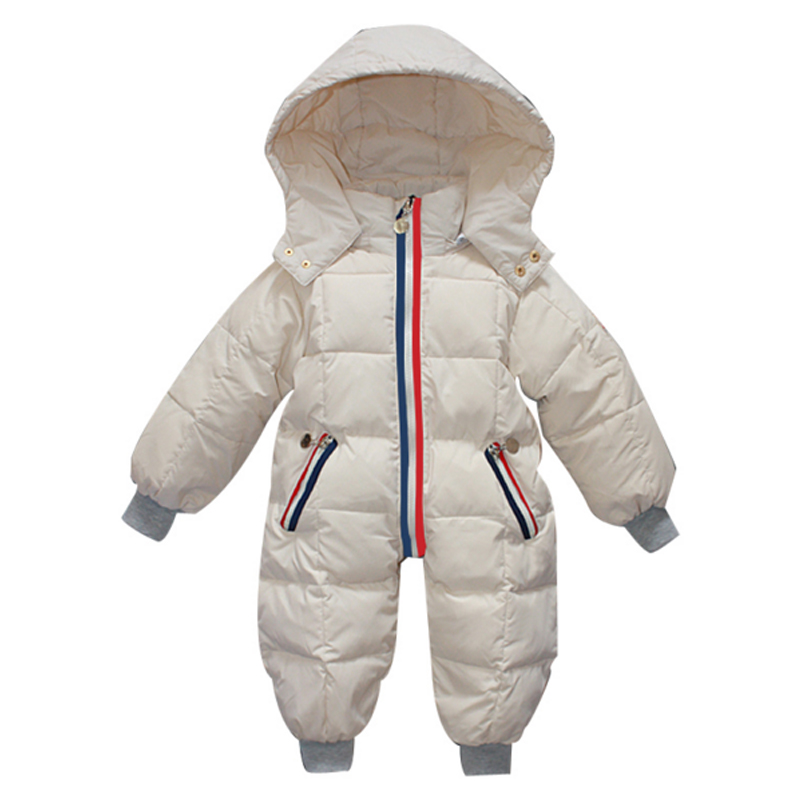 Brand New Baby Down Snowsuits Hooded Jumpsuit Boys Girls Winter Overalls Kids Coats Clothes Newborn Thicken Rompers Outerwear christmas 2017 brand new winter newborn infantil baby rompers kid boys and girls clothing real fur jumpsuit down overall jacket
