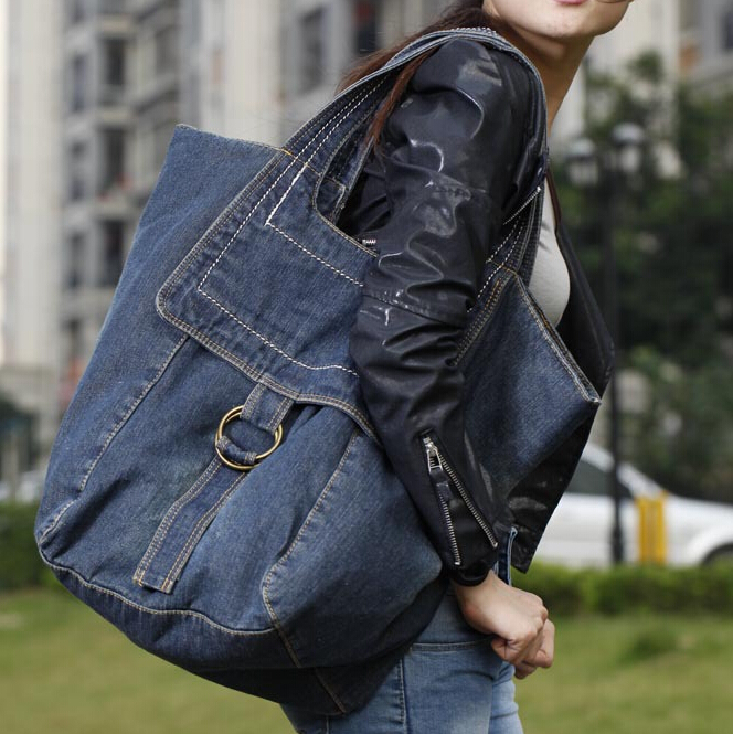 stacy bag hot sale women handbag female fashion denim bag lady large tote anti cut siren alarm dc 9 12v