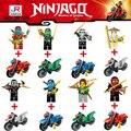 8 unids/lote Ninjagoes Bloques Ninja Lloyd Jay Ladrillos Figuras de Acción de Juguete de Modelo Para Los Niños de Regalo con la motocicleta