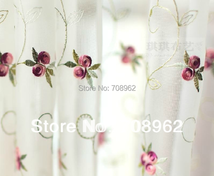 Aliexpress.com : Buy Terylene Yarn Small Roses Embroidered Window Sheers  /Floral Idyllic Kitchen Curtain (One Piece) From Reliable Curtains With  Matching ...
