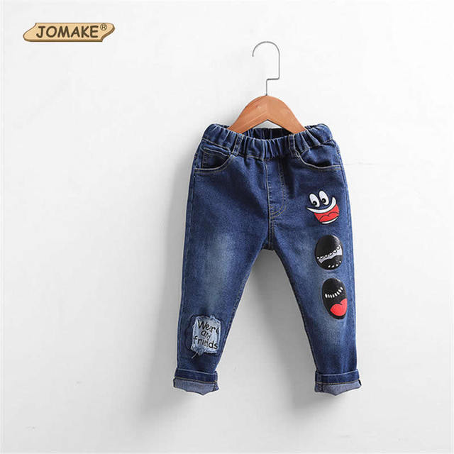 Boys Jeans New Spring Autumn Baby Jeans Pants Cartoon Printed Patched Fashion Brand Children'S Denim Trousers Casual Kids Pants