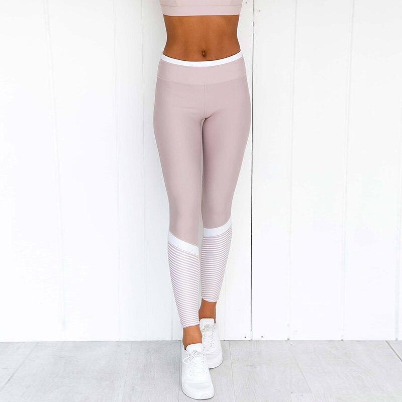 Women Slim Fitness Leggins Casual Workout Pink Butt Lifting Pants White Striped Leggings Activewear Yogaing GYMs Booty Capri