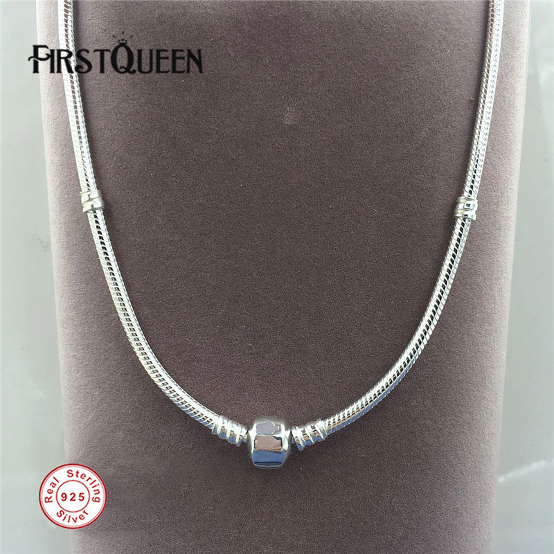 FirstQueen 925 Silver Charm Necklace With Clasp Fit Silver Pendant Charms 925 Sterling Silver Fine Jewelry