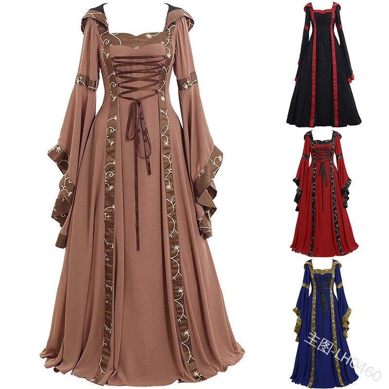 New Hooded Medieval Dress Costume Women Maxi Dress Renaissance Queen Cosplay Long Dress Women Retro Fancy Clothes Halloween 5XL