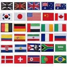 30 стран вышитые национальные нашивки с флагами пришить железные значки США Великобритания AU Для сумки джинсы шляпа футболка DIY Аппликации Ремесло Декор