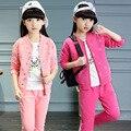 Комплект одежды девушки одежда спортивный костюм дети одежда для девочек ребенок Вышитые детские костюмы одежда для девочек 3 шт. набор