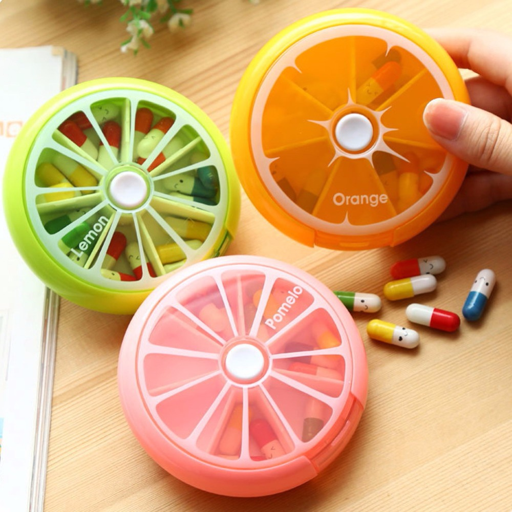 Pill Box 7 Days Weekly Medicine Box Outdoor Orange Shape Splitters Box 3Colors Pill Case Organizer intelligent 1 lcd electronic 7 grid pill capsule medicine organizer case blue white 2 x aaa