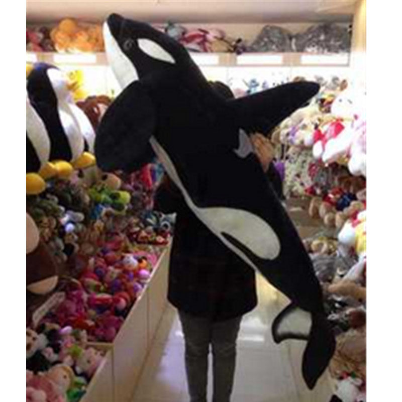 51'' Giant Big Simulation Black Shark <font><b>Killer</b></font> <font><b>Whale</b></font> <font><b>Plush</b></font> Toy Stuffed Animal Doll Cotton Toy Toys For Children Japanese <font><b>Plush</b></font> image