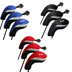 Golf Headcovers Set Club Wood Cover Long Interchangeable No.1 3 5 Driver Fairway Hybrid Golf Wood Headcovers Deluxe 3 Colors