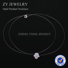 Fashion Jewelry Nylon Chain Synthetic OP17 White Hamsa Opal Pendant Necklace for Women