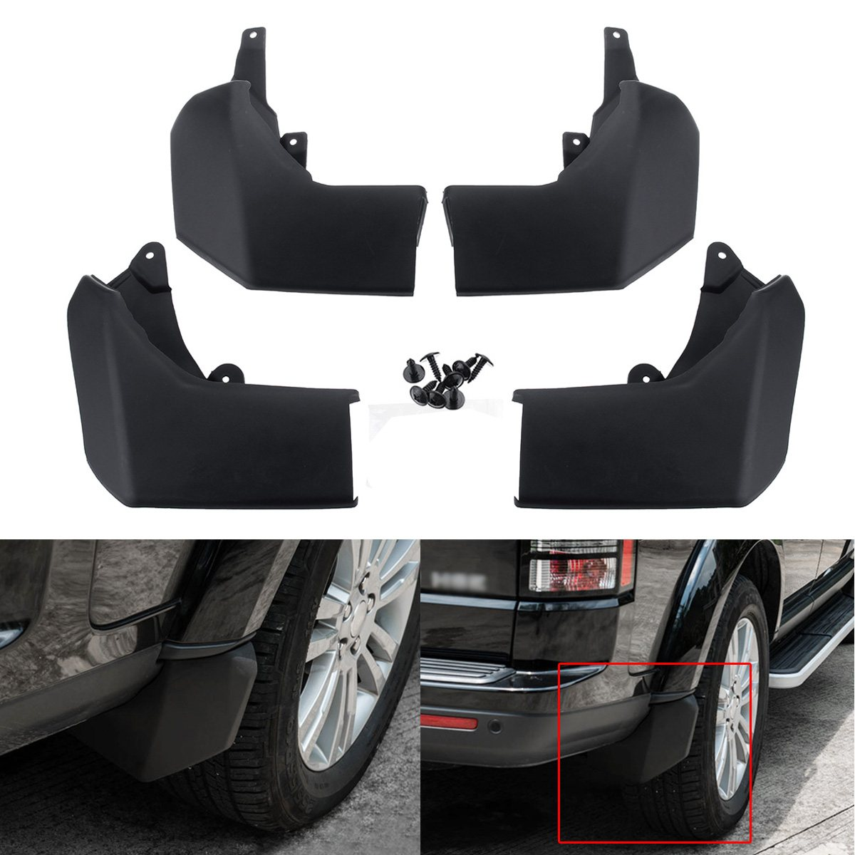 4pcs Front Rear Mud Flap Mudflap Set For Land Rover Discovery 3 4 CAS500010PCL VPLAP0017