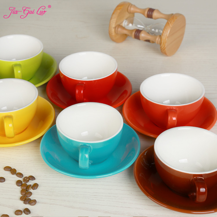 Jia-gui Luo 220 Ml High-grade Ceramic Coffee Cups Coffee Cup Set Simple European Style Cappuccino Flower Cups Latte
